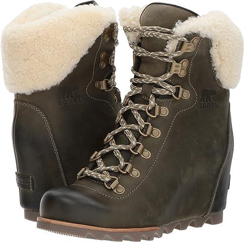 fc2f73a3444 Sorel Womens Conquest Wedge Shearling Leather Boots  Amazon.it  Scarpe e  borse