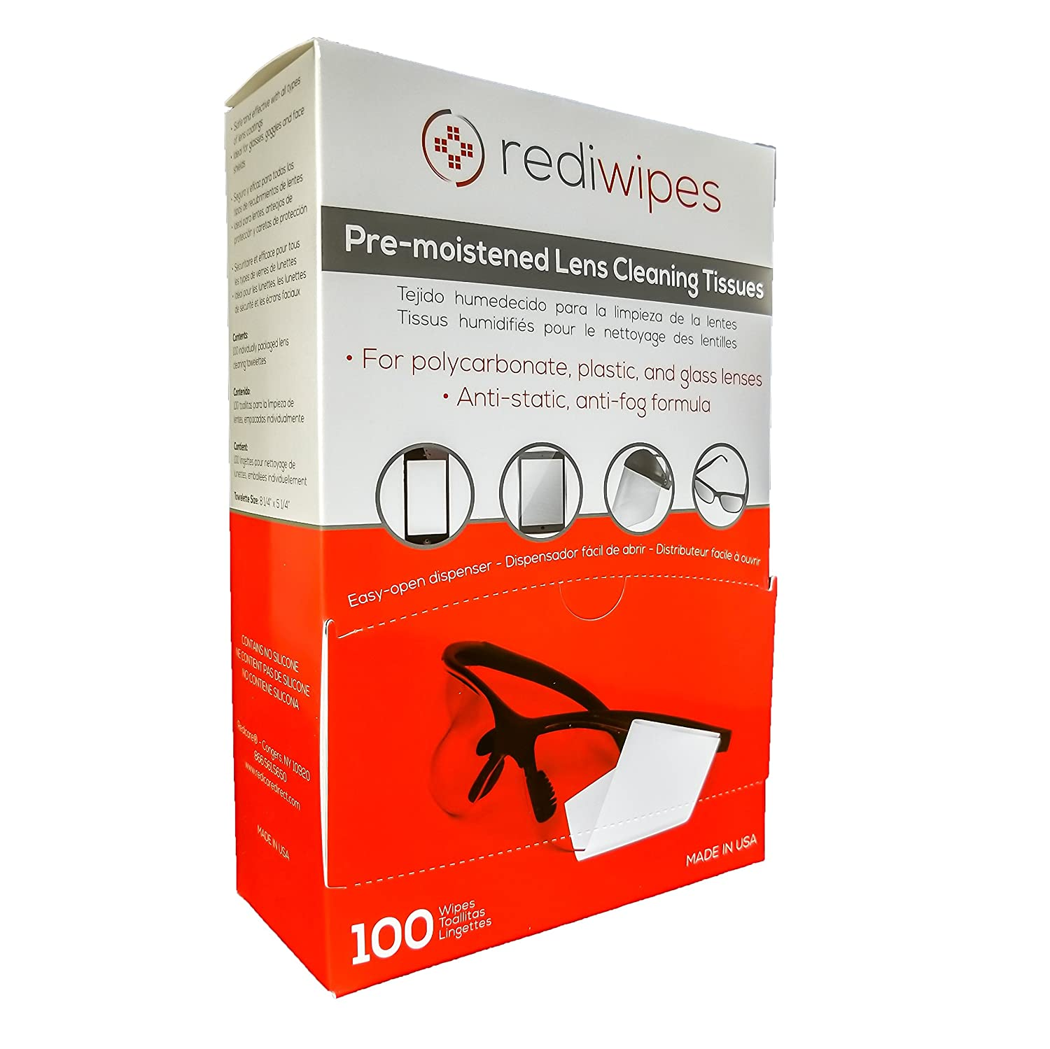 Amazon.com: Large Pre-Moistened Lens Cleaning Wipes - Rediwipes For plastic, glass lenses, monitors, screens, phones - streak free cleaning - 100 wipes.