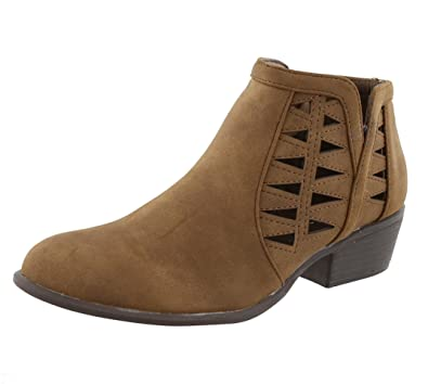 Women's Western Geometric Cut Out Chunky Stacked Low Heel Ankle Bootie