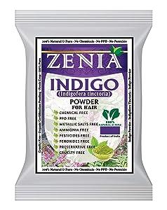 Zenia Indigo Powder (Indigofera Tinctoria) Hair/Beard Dye Color 1000 grams (1kg)