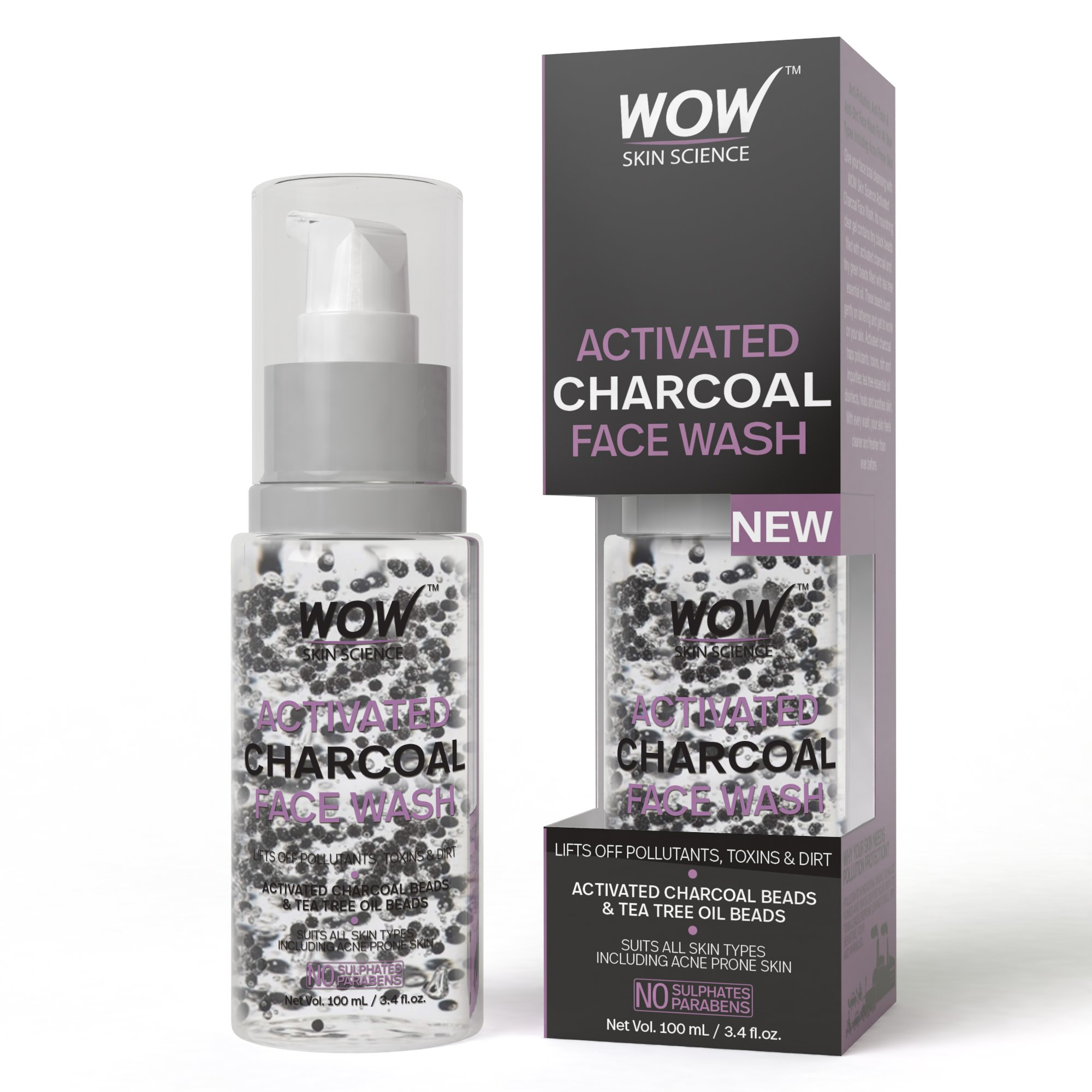 Wow Activated Charcoal Face Wash with Activated Charcoal Beads, 100ml product image