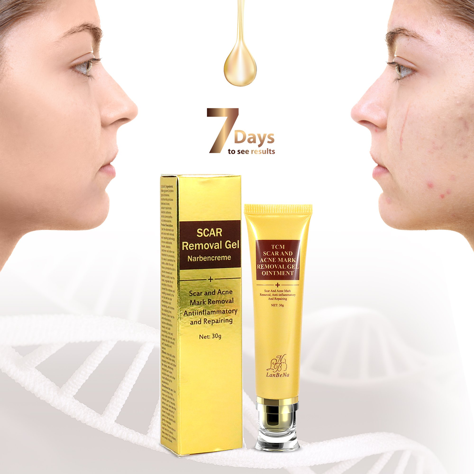 Scar Revomal Cream Treatment Serum - Scar Away Gel for Boby Face Burns C Section Old Scar Surgical Scars - 100% Proven Safe, Effective, No Skin Discoloration, No Side Effects for Man Woman