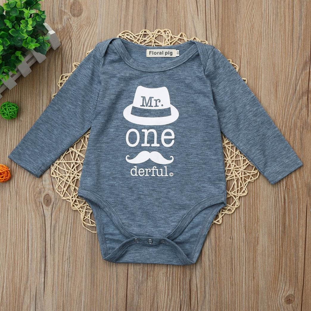 FORESTIME Winter Warm Casual Little Baby Boys Girls Print Letter Hat Romper Jumpsuit Outfits