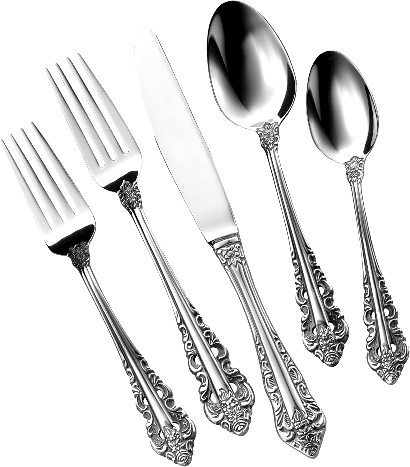 Utica Cutlery 816840 Classic Baroque Flatware Set, 40 Piece (Service for Eight), 18/10 Stainless