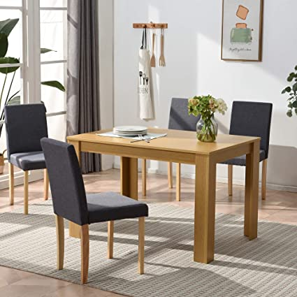 Cherry Tree Furniture 5 Piece Dining Room Set 4 Seater Dining Table With 4 Chairs Oak Colour Table With Grey Fabric Seats Amazon Co Uk Kitchen Home