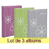 Lot de 3 albums photos Erica Ellypse à pochettes 11.5x15 pour 300 photos