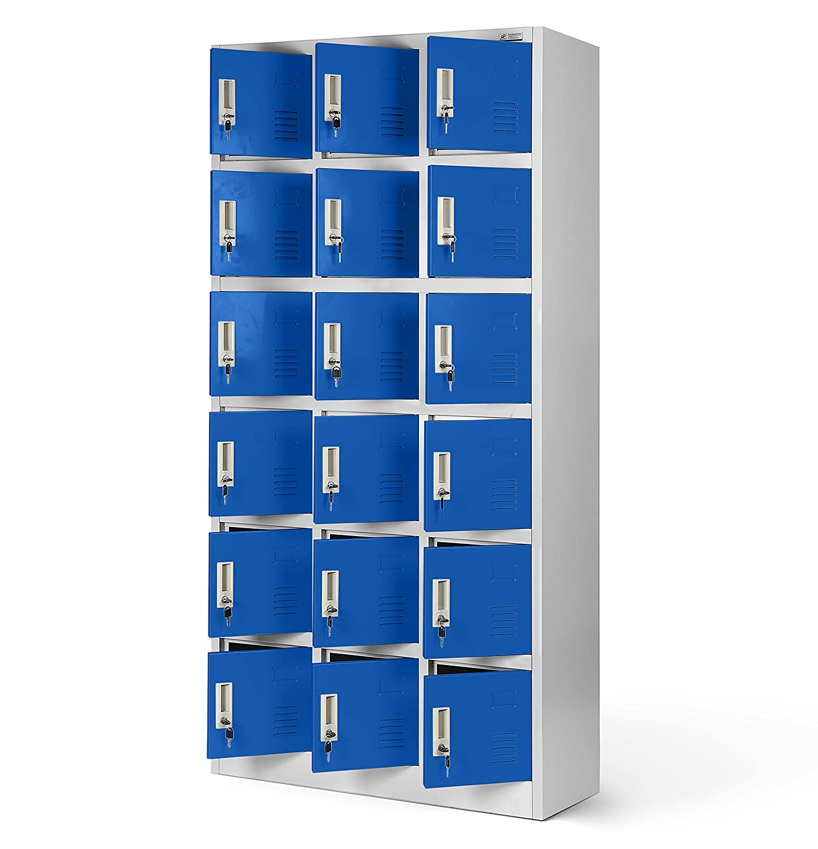 Casier vestiaire 3B6A armoire metallique 18 Compartiments revêtement en poudre 185 cm x 90 cm x 40 cm (gris/bleu)