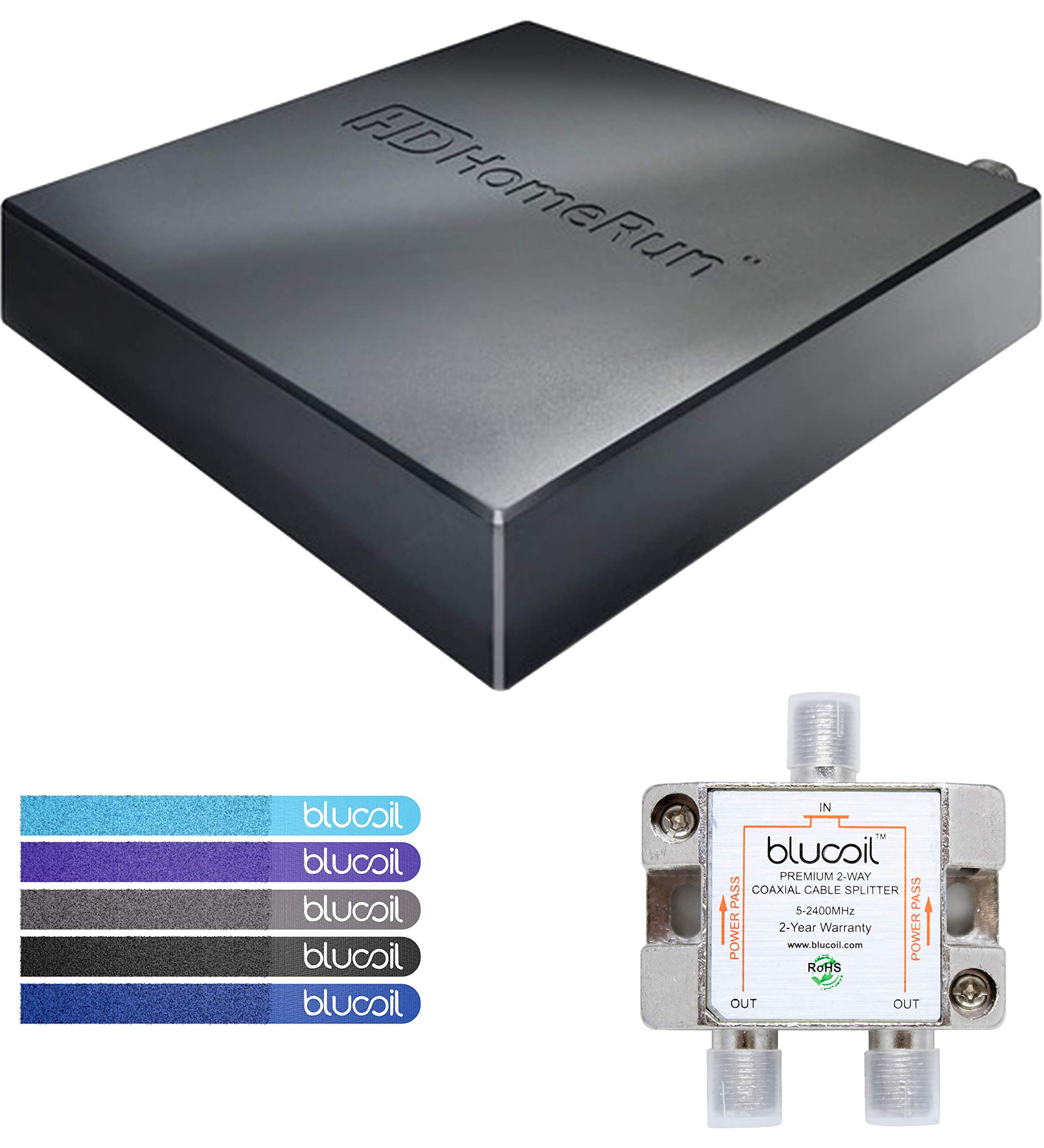 SiliconDust HDHR5-4US HDHomeRun Connect Quatro Tuner (Renewed) Bundle with Blucoil 2-Way TV Coaxial Cable Splitter and 5-Pack of Reusable Cable Ties by Blucoil