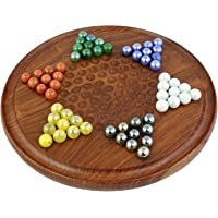 ITOS365 Traditional Round Wooden Chinese Checkers Board Family Game Set