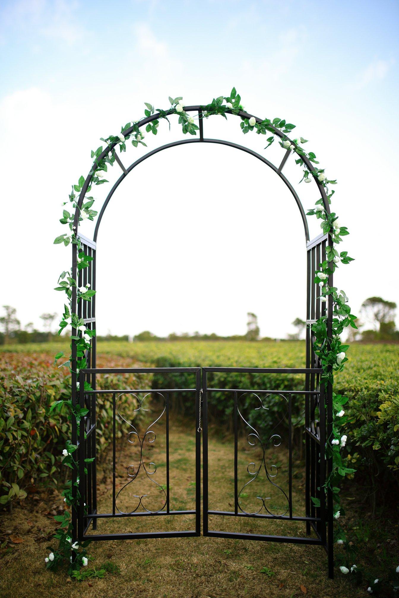 1. GO Steel Garden Arch with Gate, 6'7'' High x 3'7'' Wide, Garden Arbor for Various Climbing Plant, Outdoor Garden Lawn Backyard by 1. GO (Image #3)