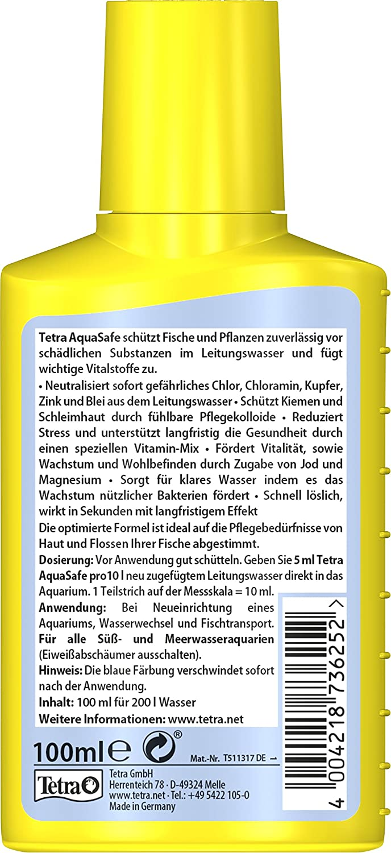 Tetra Aquasafe (de gran calidad de purificador de agua para fischgerechtes y naturnahes Acuario Agua, neutraliza fischschädliche sustancias en el agua del ...
