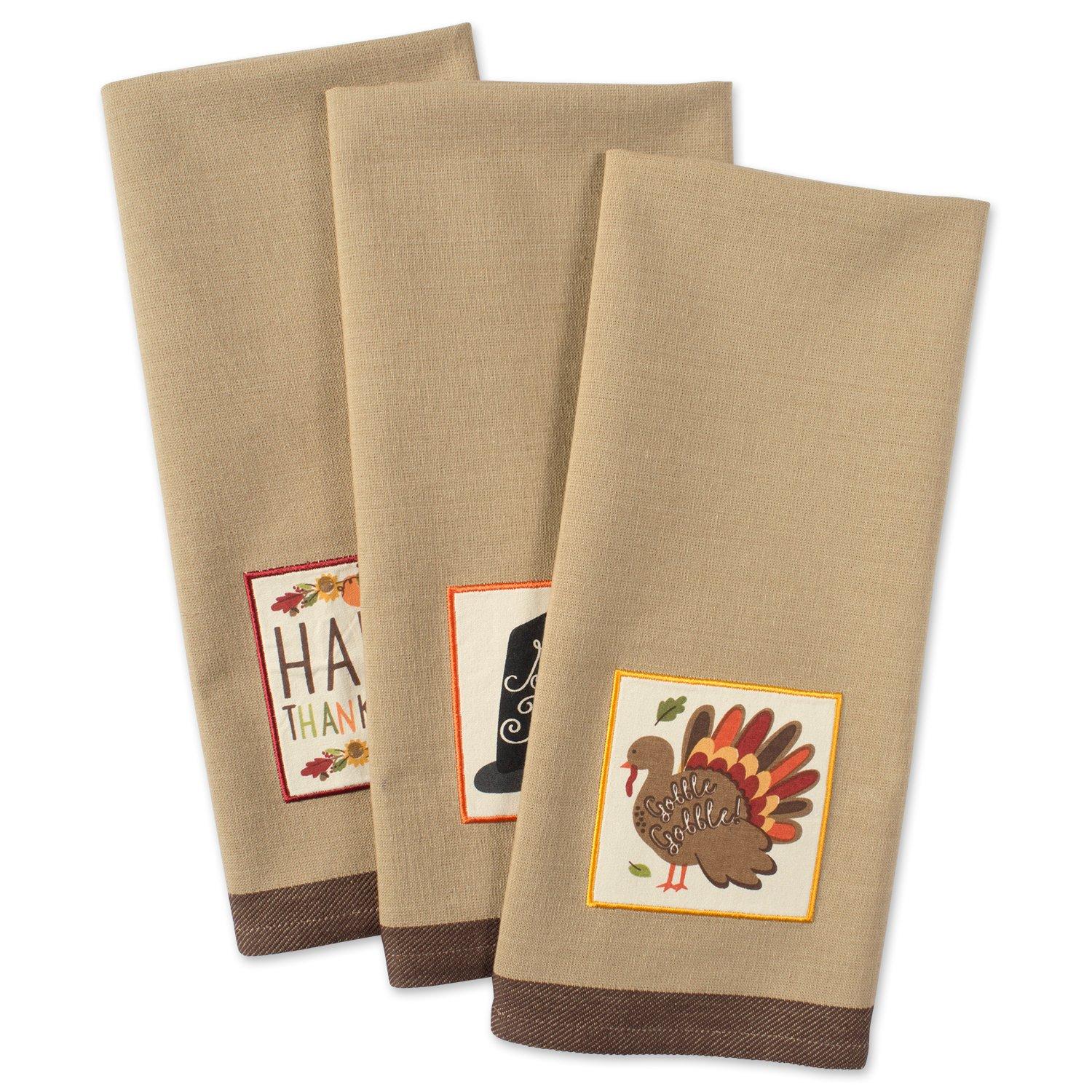 DII Cotton Thanksgiving Holiday Dish Towels, 18x28'' Set of 3, Decorative Oversized Embellished Kitchen Towels, Perfect Home and Kitchen Gift-Pumpkin Spice