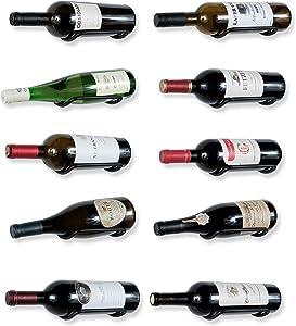 Rustic State Wall Mount Custom Design Iron Wine Bottle Holder Rack for All Adult Beverages or Liquor Set of 10 Black