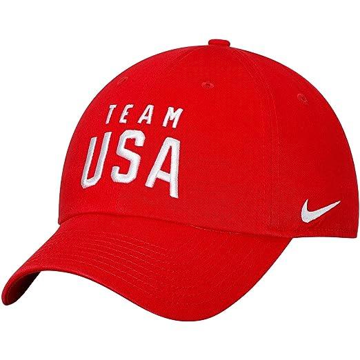 0933e474ce218 Amazon.com: NIKE Team USA Campus Adjustable Hat Red: Clothing