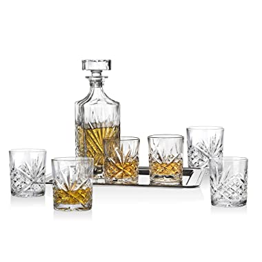 Dublin Whiskey Bar Set - Includes Whisky Decanter, 6 Old Fashioned Tumbler Glasses and Display Serving Tray