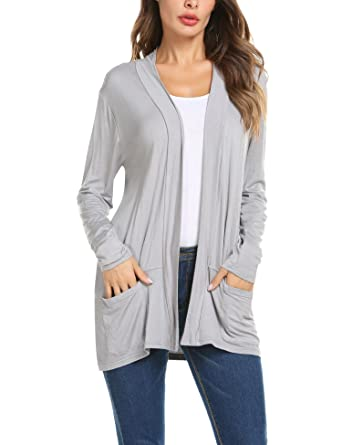 111084f284f ZHENWEI Women s Cardigans Casual Plus Size Loose Cardigan Sweaters with  Pockets