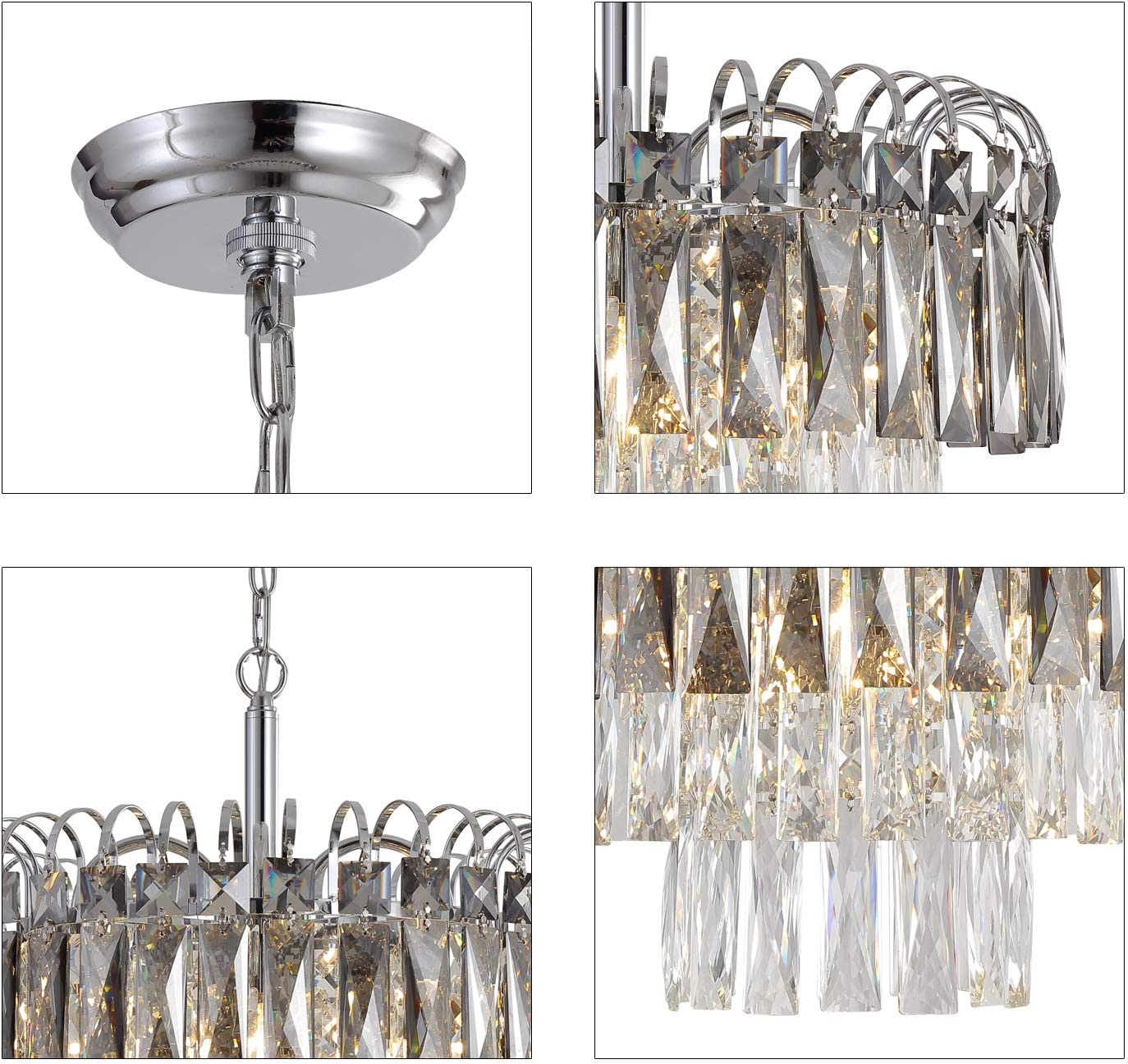 "Q&S Crystal Chandelier Lighting, Modern Chrome Chandeliers, K9 Crystal Smoky+Clear, 4 Lights Pendant Light Ceiling Light Fixture For Dining Room, Living Room, Kitchen Island,W17.1"".: Home Improvement"