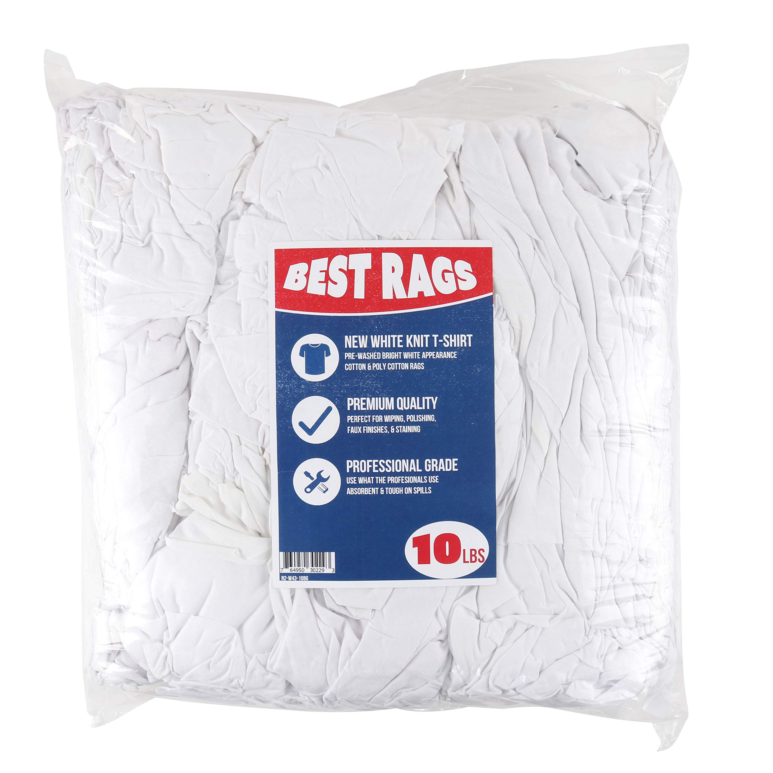 Arkwright White Knit Cleaning Rags | Cotton & Poly-Cotton Commercial Grade Rags | Perfect for Your Home, Garage, Auto, Shop Floor (10 lbs. in a Bag)
