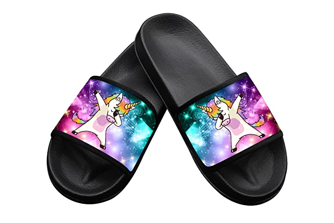 6dcfeb9e1a2f9 Unicorn Dabbing in Music Space Summer Slippers Pool Slider Sandals for Mens  Womens and Kids Indoor & Outdoor
