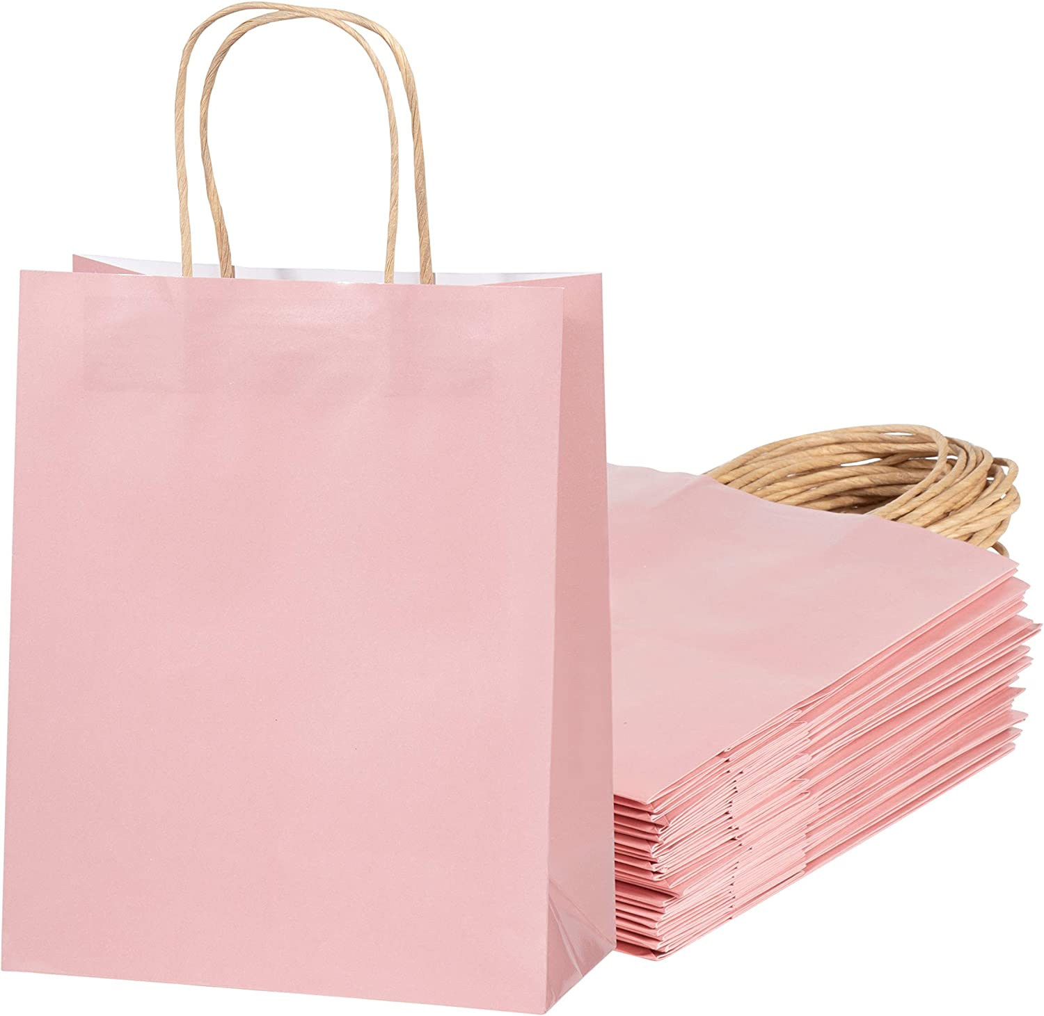 Blush Pink Gift Bags 24 Pack Glossy Pink Paper Bags with Handle, Wedding Welcome Bags, Medium Sized for Retail, Gifts, Birthday, Bridal Shower Party