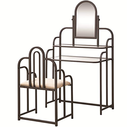 2-piece Vanity Set Tan and Bronze