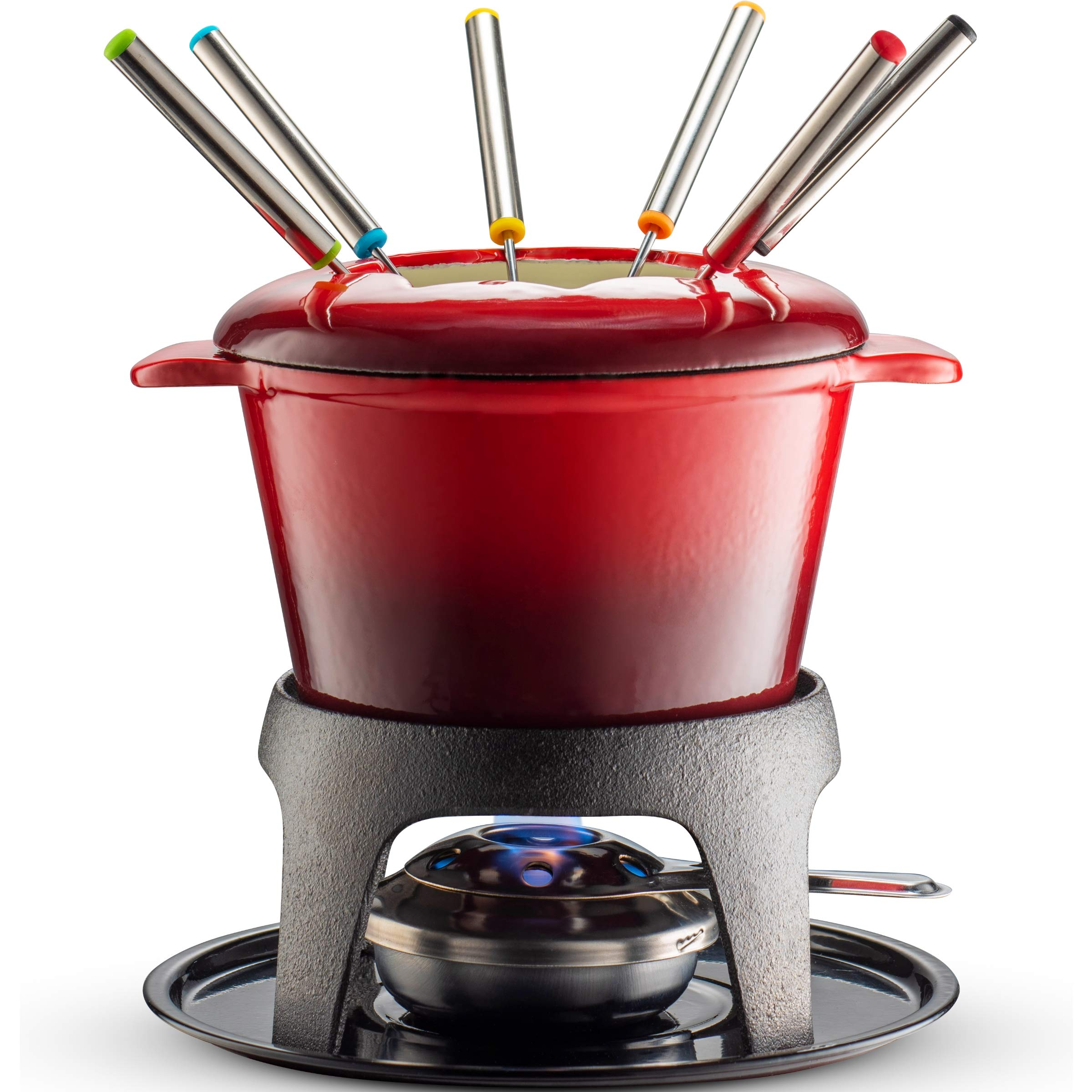 Klee 12-Piece Cast Iron Fondue Set with Red Fondue Pot, 6 Fondue Forks, Fondue Burner and Fondue Pot Base, 44 oz by KLEE UTENSILS