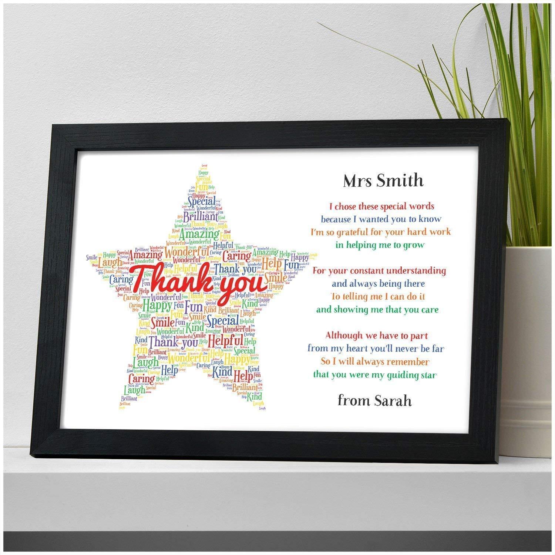 Personalised Thank You Teacher Gift STAR School Teacher TA Nursery Leaving  Poem - Gifts for Teachers, Teaching Assistants, Nursery Teachers - ANY NAME