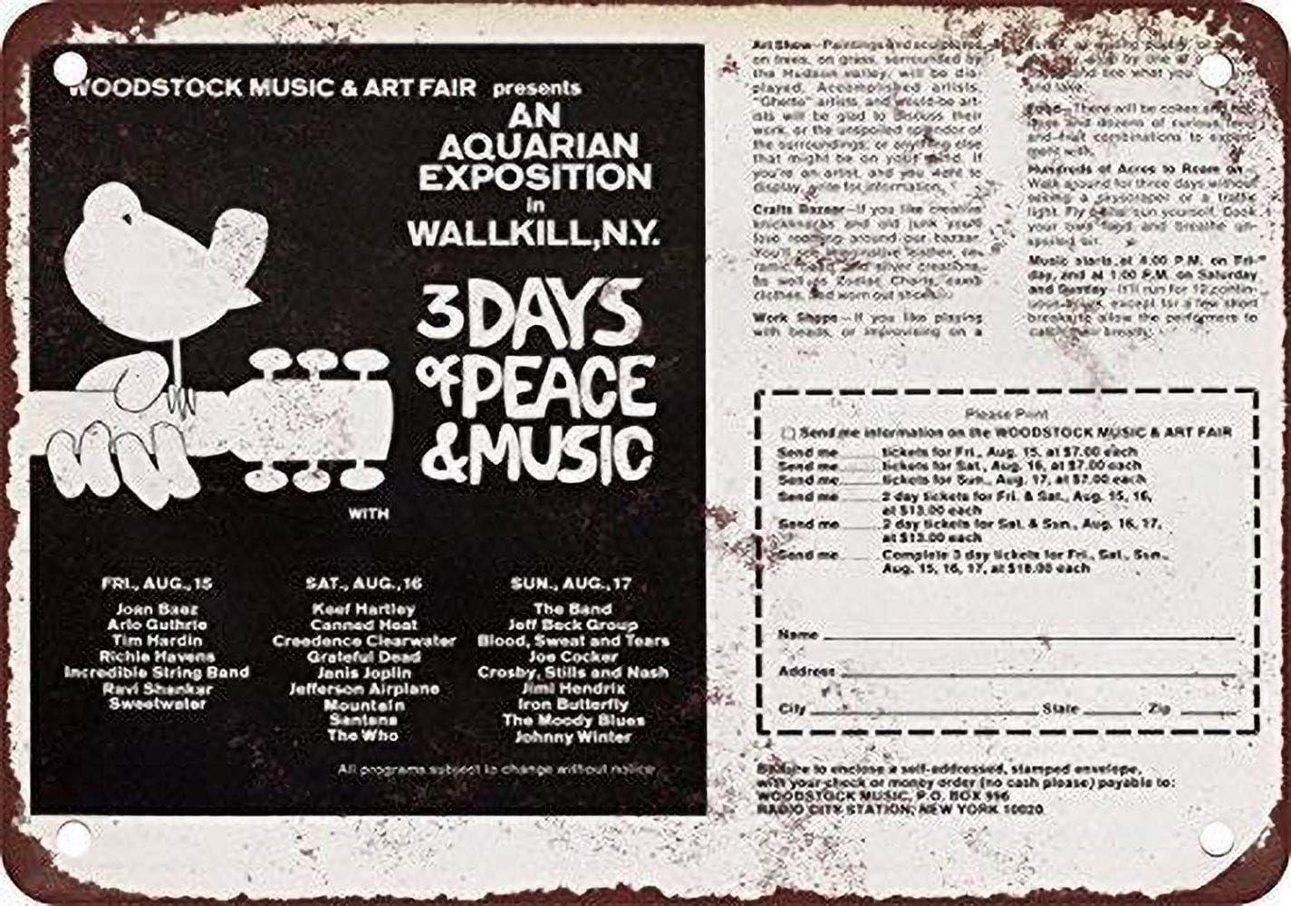 NOT Woodstock Wallkill Ad Placa de Cartel de Chapa Vintage Retro ...