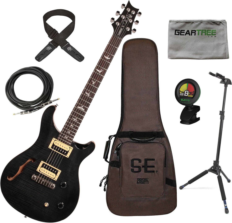 PRS SE Custom 22 Semi hueca bolsa de guitarra eléctrica gris negro w/funda, gamuza, soporte, sintonizador de bloqueo, cable, y Lock-It correa.