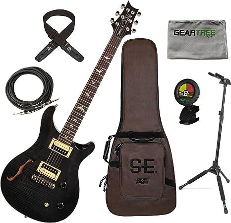 PRS SE Custom 22 Semi hueca bolsa de guitarra eléctrica gris negro w/funda,