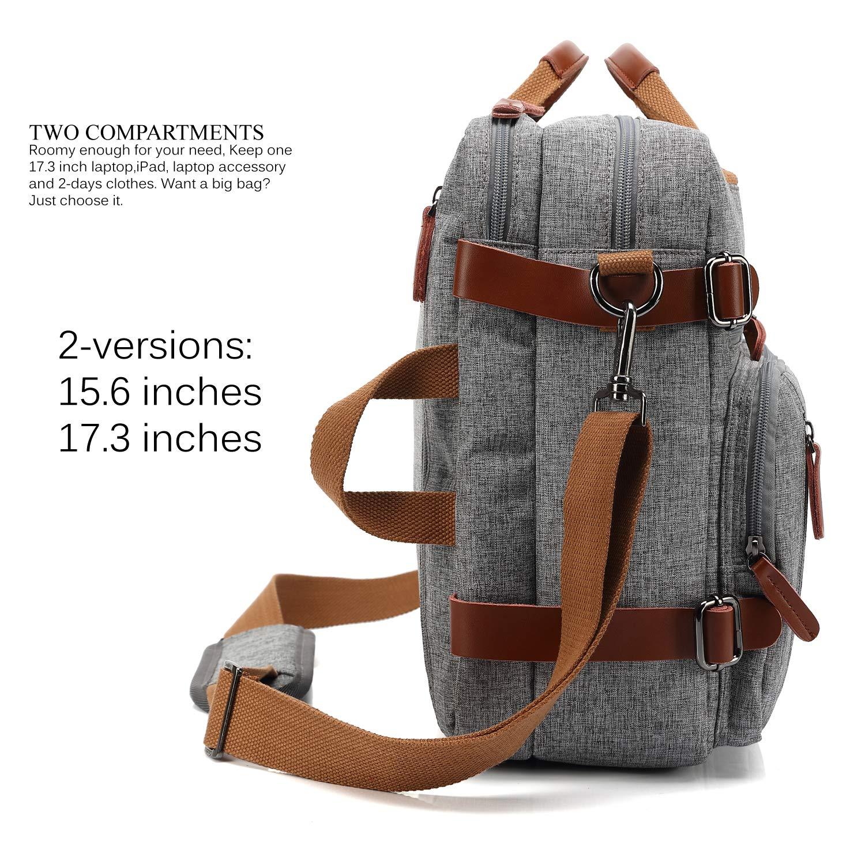 CoolBELL Convertible Backpack Messenger Bag Shoulder Bag Laptop Case Handbag Business Briefcase Multi-Functional Travel Rucksack Fits 15.6 Inch Laptop for Men/Women (Grey) by CoolBELL (Image #3)