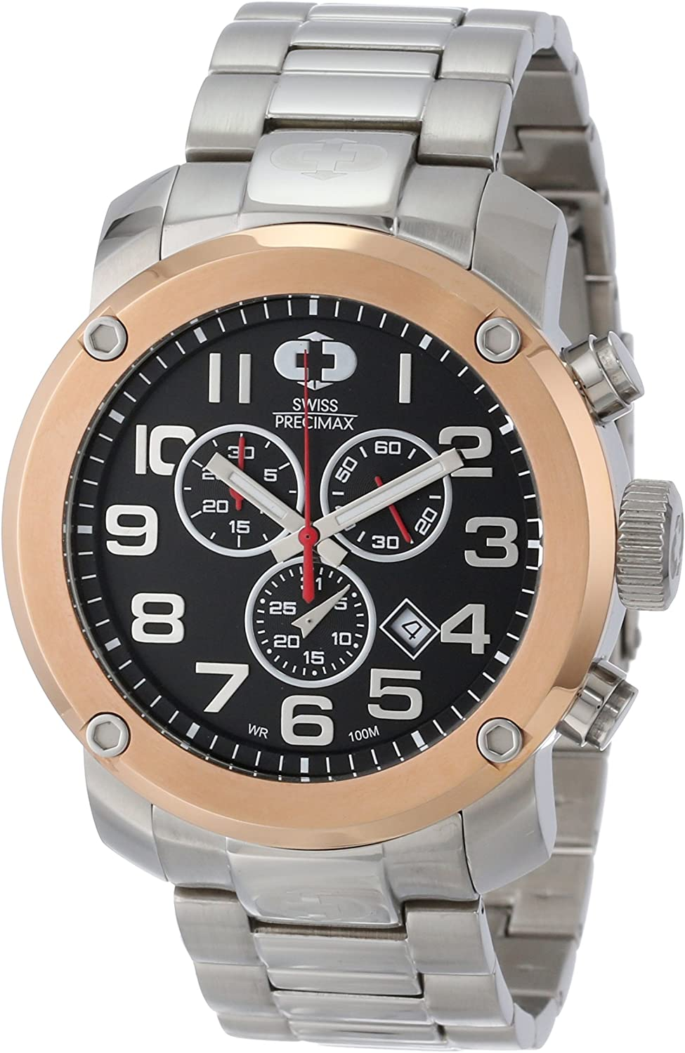 Swiss Precimax Men s SP13020 Marauder Pro Black Dial with Silver Stainless Steel Band Watch