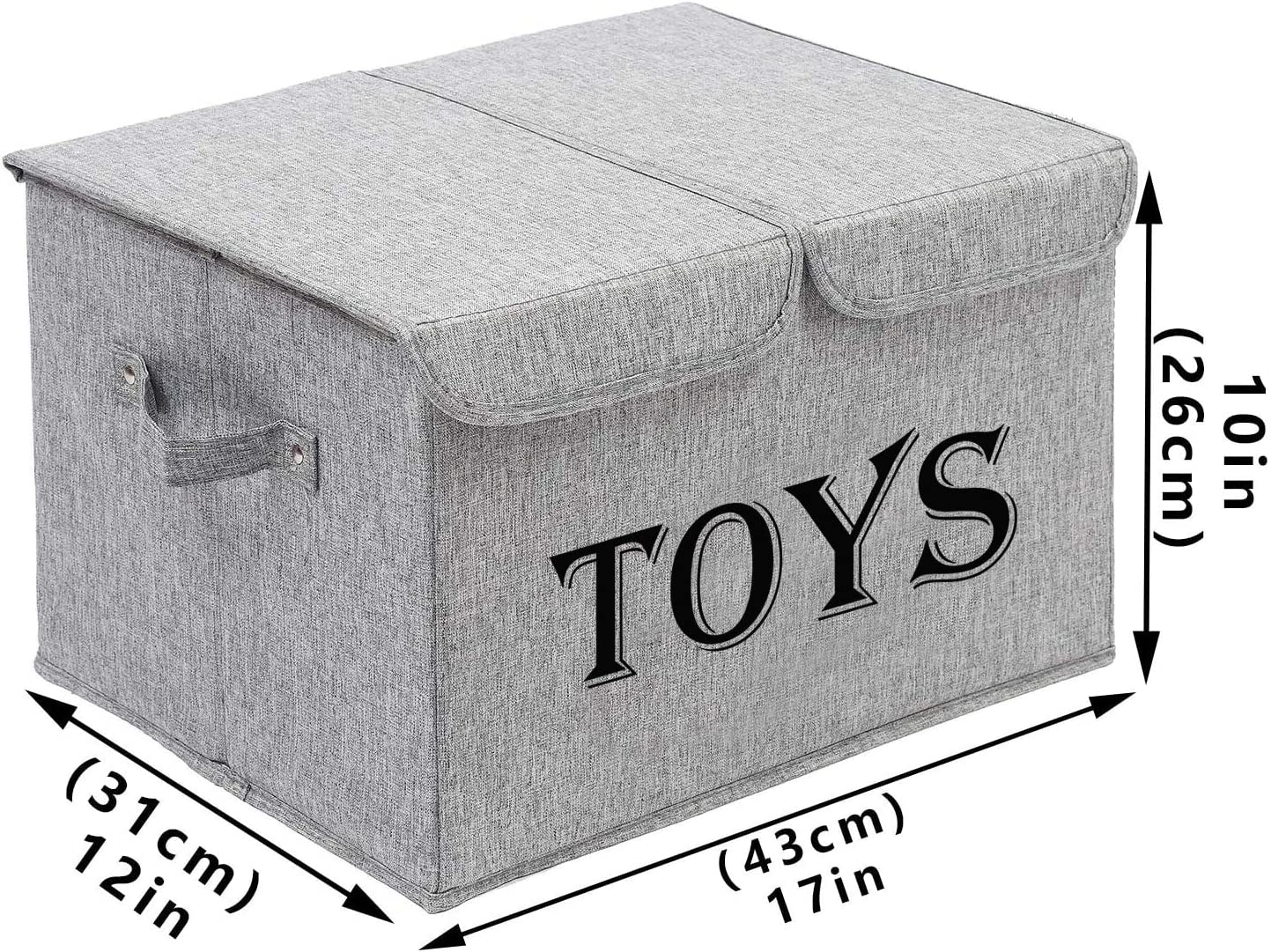 Gray Xbopetda Toy Storage Box for Baby Collapsible Toy Storage Box Linen Kids Toy Organizer with 2 Lids and Handles Toy Baskets for Home//Office//nursery
