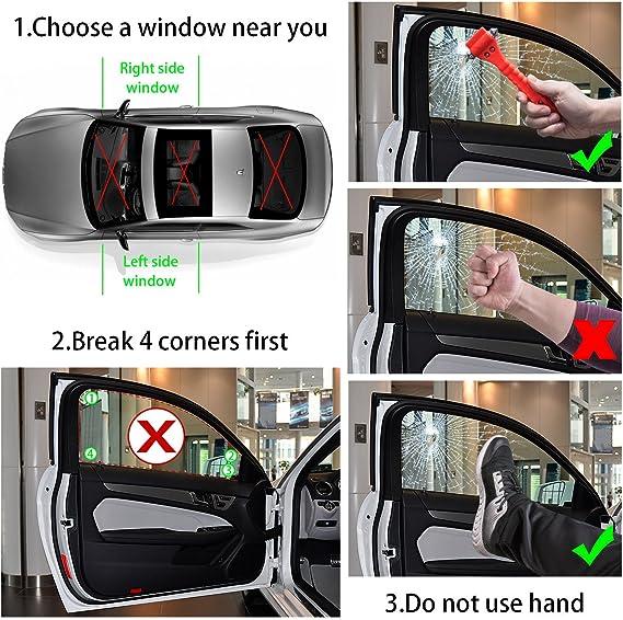 Safety Hammer Car Window Glass Breaker Petutu Car Emergency Escape Tool 3 Pack