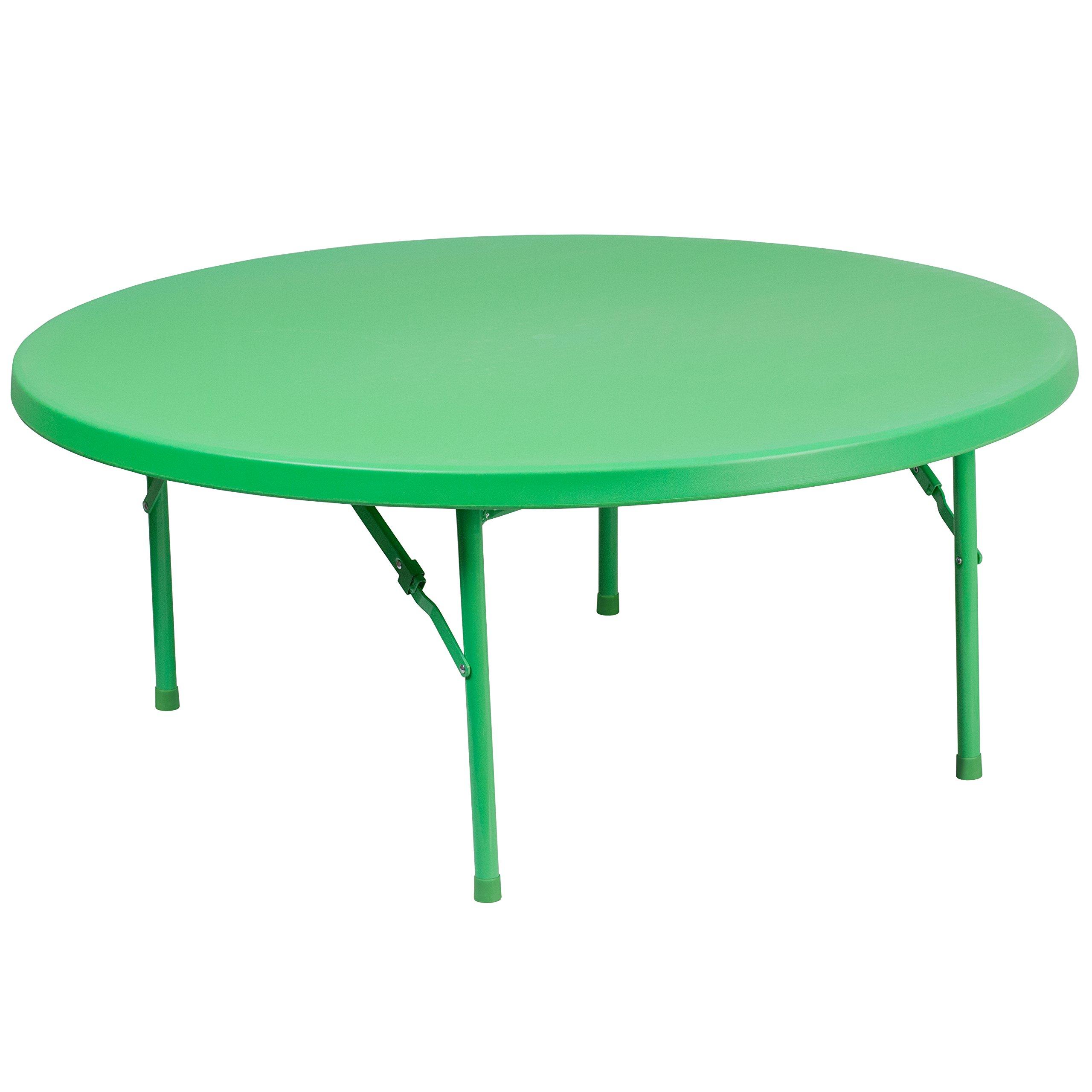 Flash Furniture 48'' Round Kid's Green Plastic Folding Table