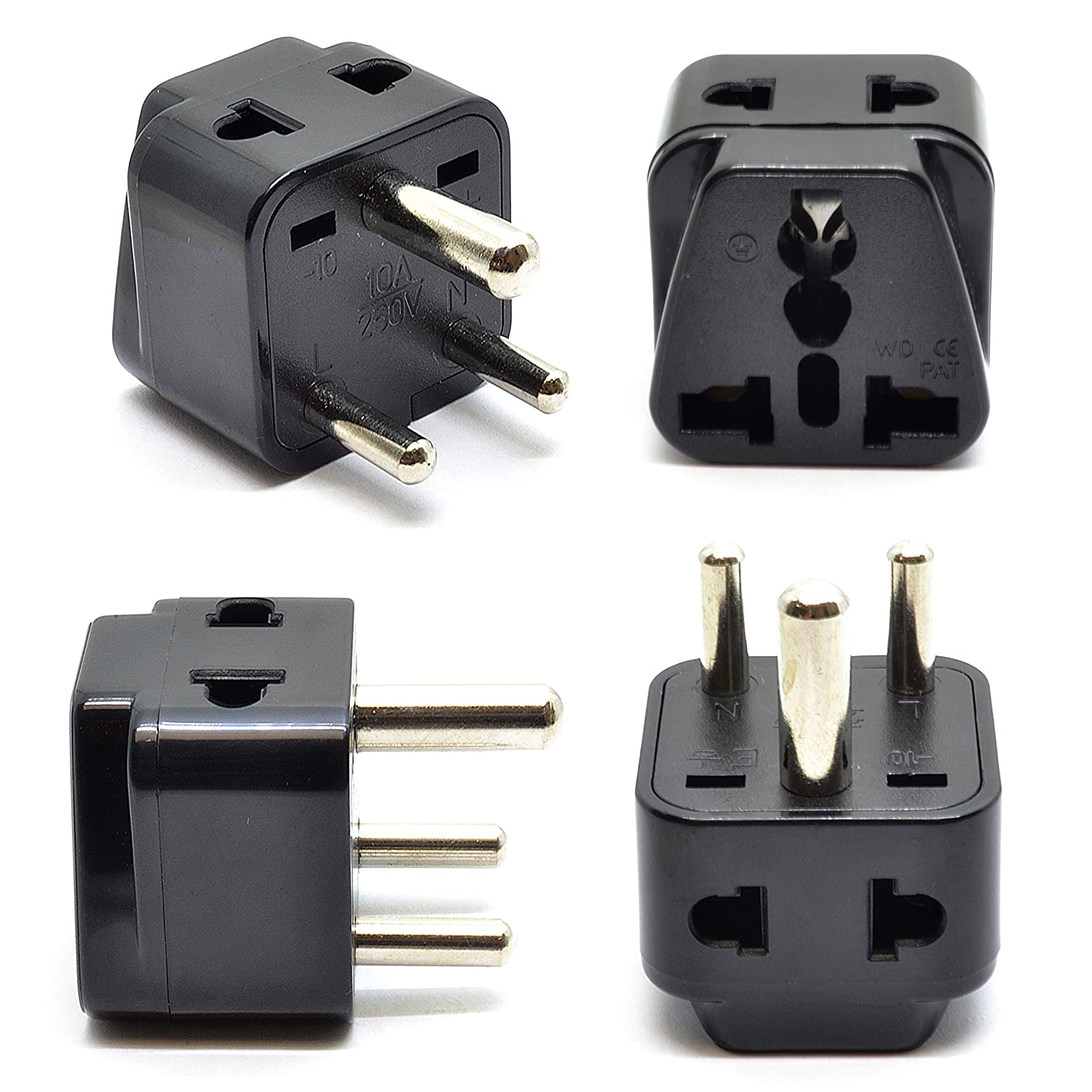 OREI 2 in 1 USA to South Africa Adapter Plug (Type M), 2 Pack, Black P21-10L-2PK