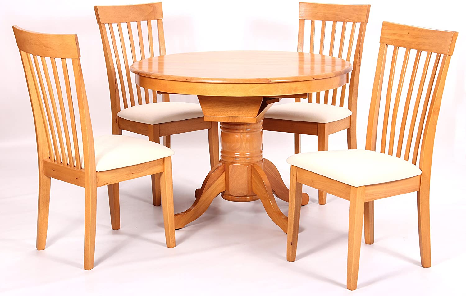 4 Chairs Leicester Oval Round Extending Pedestal Dining Table Greenheart Furniture Uk Ireland Home Kitchen Dining Room Sets