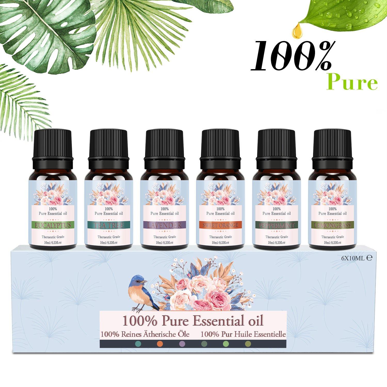 SIMAN Huiles essentielles, Huiles parfumé es pour Diffuseur et Aromathé rapie, Huile Aroma Naturelle 100% Pure Huiles parfumées pour Diffuseur et Aromathérapie