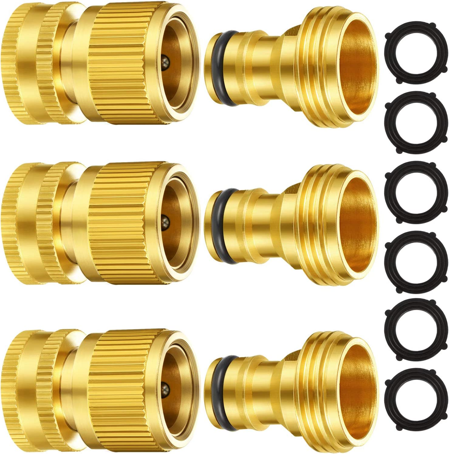 Garden Hose Quick Connect Fittings Solid Brass Quick Connector 3/4 Inch GHT Garden Water Hose Connectors with Extra Rubber Washers, Male and Female (3 Set)