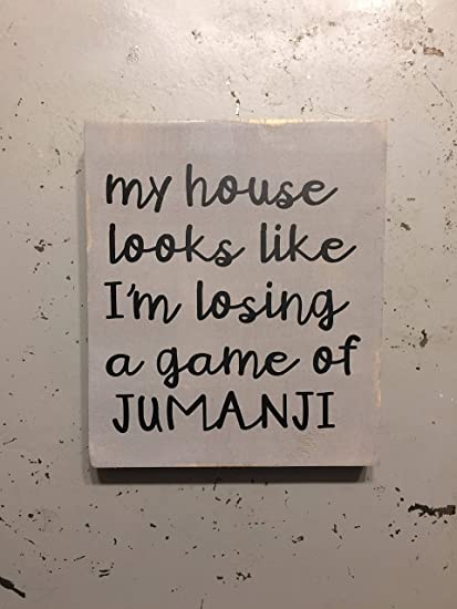 wonbye Jumanji House Signs with Quotes Wood Plaque Hanging Sign Rustic Wall  Art Decor Funny Quote