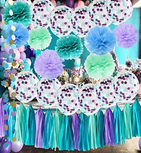 Under The Sea Party Supplies Mermaid Decorations Teal Purple Blue Mint Tissue Pom Poms