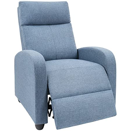 Devoko Adjustable Recliner Single Chair Fabric Modern Living Room Chair Thicker Cushion Ergonomic Lounge Sofa for Home Theater Seating Blue