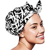 Reusable Shower cap For Women, Waterproof Turban Shower Cap For Women Long Hair (Graffiti)