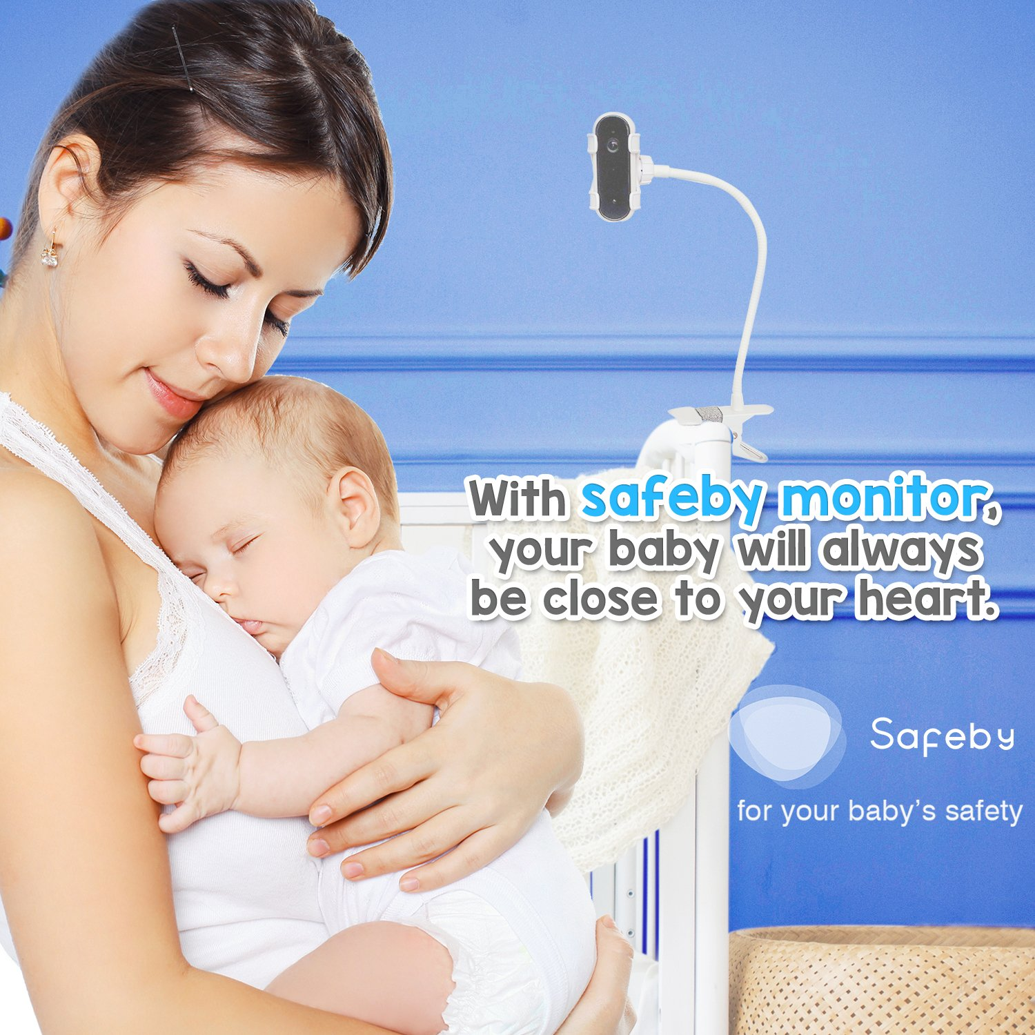 Safeby Video Baby Monitor With Camera And Audio – Crib Mount, iPhone Compatible, HD, Two-Way Talk, InfraRed, Night Vision, Portable WiFi Nanny Cam, App for Any Smart Phone, Unlimited Range Easy Set-Up by Safeby (Image #2)