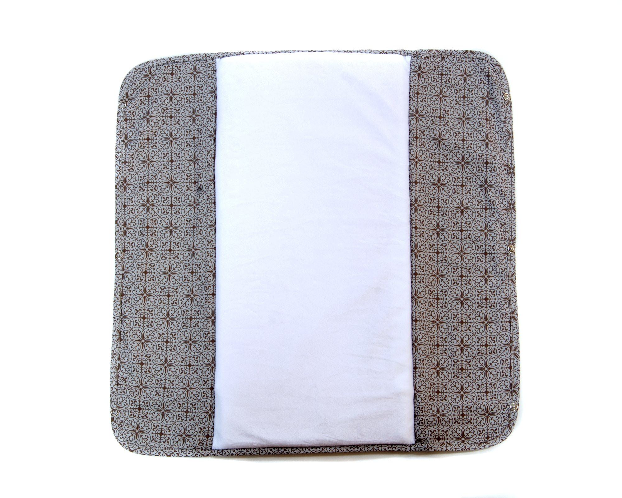 The Plush Pad Portable Changing Pad with Memory Foam, Morocco Brown Pattern