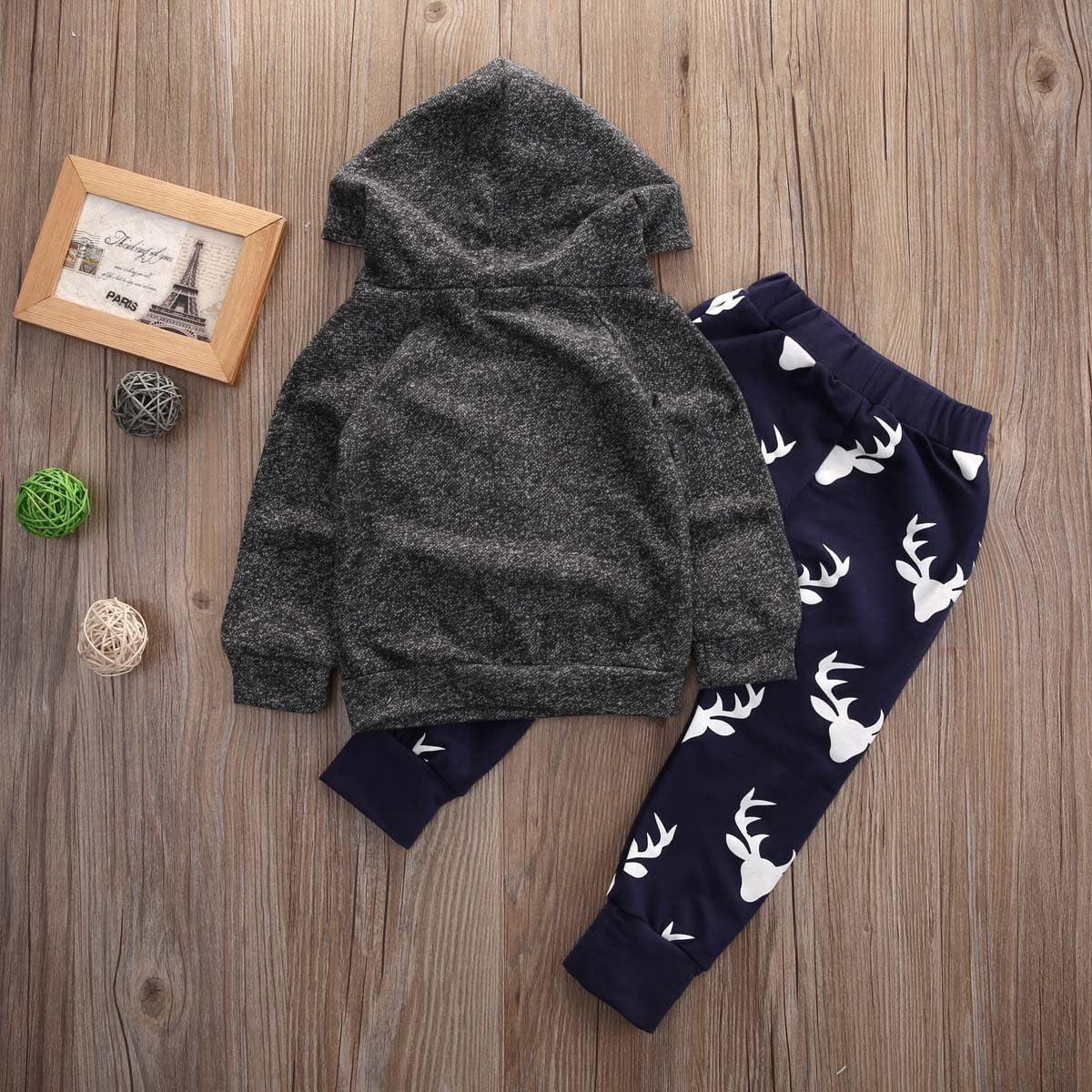 Infant Baby Boy Deer Print 2pcs Set Long Sleeve Hoodie+Long Pants Outfit