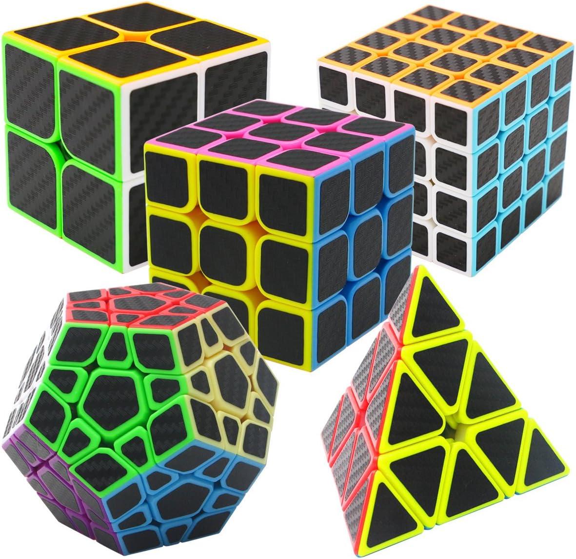 Coolzon Puzzle Cubes Megaminx + Pyraminx + 2x2x2 + 3x3x3 + 4x4x4 5 Pack in Giftbox Cubo Magico con Pegatina de Fibra de Carbono Velocidad