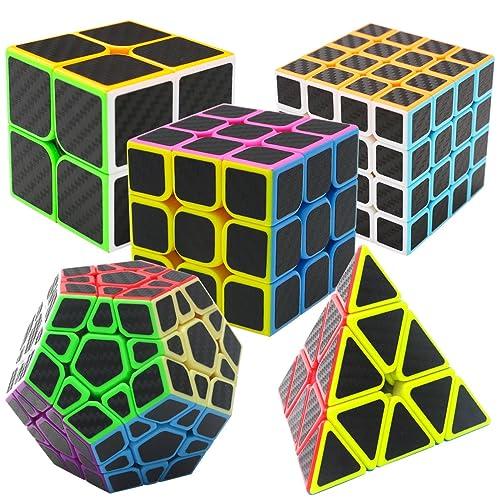 Coolzon® Magic Puzzle Speed Cubes 5 Pack Pyraminx + Megaminx + 2x2x2 + 3x3x3 + 4x4x4 in Giftbox Carbon Fiber Sticker, Black