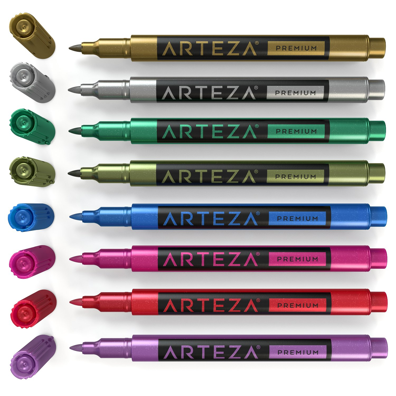 ARTEZA Weinglas-Markers - Weinglasschmuck - Glas und Pflege - Pens (Set of 8) ARTZ-8130