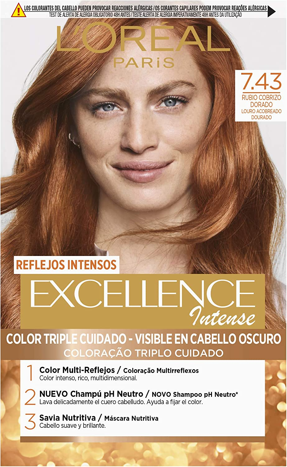 L'Oréal Paris Excellence Intense Coloración Tono: 7,43 Rubio Cobrizo Dorado